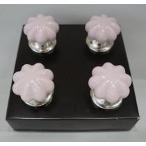 Πομολα κεραμικα ροζ παστελ S/4