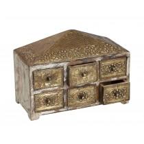 Κοσμηματοθήκη-μπιζουτιέρα ξύλινη με μπρούτζο.
