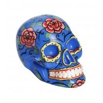 Διακοσμητική νεκροκεφαλή γαλάζια με λουλούδια