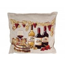 Διακοσμητικο μαξιλάρι υφασματινο με φόντο μπουκάλια κρασιού.