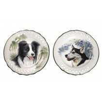 Διακοσμητικο πίατο τοίχου με θέμα σκύλο πορσελάνη Tiffany.