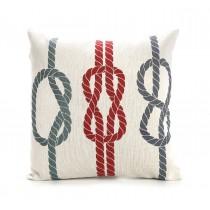 Διακοσμητικο μαξιλαρι υφασματινο κοκκινο λευκο μπλε με καλοκαιρινο σχεδιο κομποι σχοινιων 45x45cm