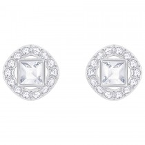 Swarovski 5368146 ANGELIC SQUARE PIERCED EARRINGS, WHITE σκουλαρίκια