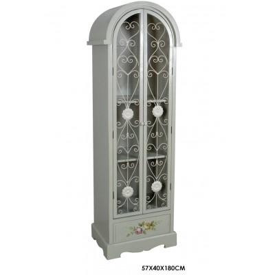 Βιτρίνα-ντουλάπα λευκή αντικέ ξύλο-μέταλλο με λουλούδια 180x57x40