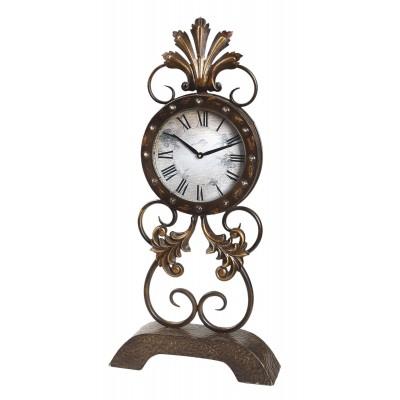 Ρολόι επιτραπέζιο/επιδαπεδιο μεταλλικό αντικε χρυσο καγκελακι.