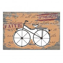 Inart 3-90-812-0016 Πινακας ποδηλατο ξυλο/μεταλλο 60x1,5x40