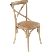Inart Καρέκλα Μπιστρό Ξύλινη Με Ψάθα. 45x42x87cm. 3-50-597-0035