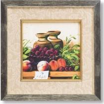 Καδράκι Ξύλινο Τετράγωνο με φρούτα. Ξύλο/Γυαλί . 29x29cm.  176-1018