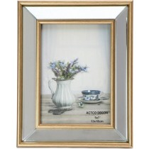 Espiel Κορνίζα Με Καθρέφτη Χρυσή  Μέταλλο. 10x15cm. NAZ107