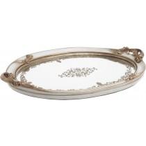 Inart Δίσκος Polyresin με Καθρέπτη Λευκός/Αντικέ. 38x24x4cm. 3-70-634-0005