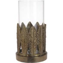 INART  Κηροπήγιο Φύλλα Polyresin-Γυάλ. Χρυσό. 15x28cm. 3-70-507-0307