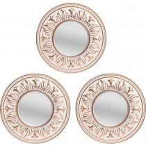 Inart Καθρέπτης τοίχου σετ των 3 αντικέ λευκό/χρυσό. 25cm. 3-95-956-0012