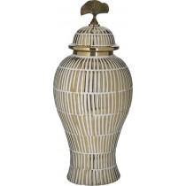 Inart Κεραμικό Βάζο Με Καπάκι -Λευκό. 19x43cm. 3-70-902-0134