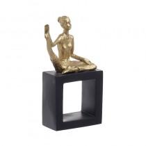 Inart Επιτραπέζιο Διακοσμητικό χορεύτρια -Polyresin - Χρυσό/Μαύρο. 24x13x21cm. 3-70-645-0015