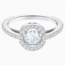 SWAROVSKI επιροδιωμένο δαχτυλίδι SPARKLING DANCE ROUND, WHITE, Rhodium shiny 5482513 No: 60
