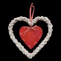 Χριστουγεννιάτικη ξύλινη διπλή καρδιά δεμενο με σχοιχί. 32x25cm. oikos83