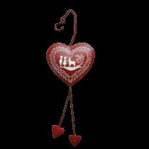 Χριστουγεννιάτικη κόκκινη  καρδιά -μέταλο. 37x11cm. oikos85