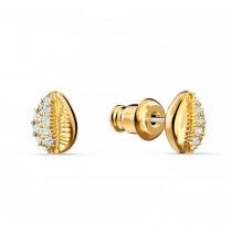 Swarovski επιχρυσωμένα σκουλαρίκια 5520471 SHELL STUD PIERCED EARRINGS, WHITE, GOLD-TONE