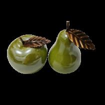 Διακοσμητικό κεραμικό μήλο με μπρούτζινο φύλλο. 9x8cm. oikos117