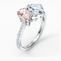 Swarovski επιροδιωμένο δαχτυλίδι 5535310 Attract Soul Ring, Pink, Rhodium plated No52