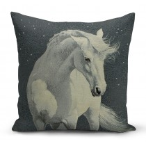 Mαξιλαροθήκη με λευκό άλογο. 45x45. oikds45