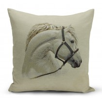 Mαξιλαροθήκη με λευκό άλογο. 45x45. oikds46
