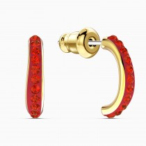 Swarovski επιχρυσωμένα σκουλαρίκια 5567358 THE ELEMENTS HOOP PIERCED EARRINGS, RED, GOLD-TONE PLATED