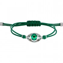 SWAROVSKI 5508535 ατσάλινο βραχιόλι POWER COLLECTION EVIL EYE BRACELET, GREEN, STAINLESS STEEL