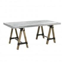 "Inart 3-50-437-0001 Τραπέζι ξύλινο/μεταλλικό ""Hugo"", σε γκρι-natural χρώμα."
