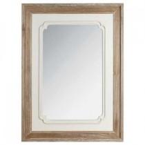Inart Kαθρέφτης από ξύλο σε λευκό/μπεζ χρώμα.