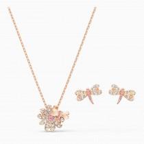 Swarovski επιχρυσωμένο σέτ κοσμημάτων 5518141 Eternal Flower Dragonfly Set, Pink, Rose-gold