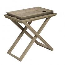 Inart 3-50-258-0012 Σετ ξύλινο τραπέζι με δίσκο σε φυσικό χρώμα.