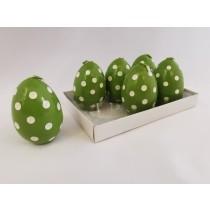 Κεριά σε  Σχήμα Αυγού με Πουά -Πράσινα. σετ/6. oikos392