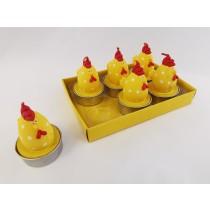 Κεριά σε  Σχήμα Κότα με Πουά -Κίτρινα. σετ/6. oikos394