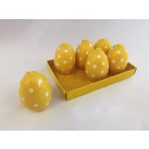 Κεριά σε  Σχήμα Αυγού με Πουά -Κίτρινα. σετ/6. oikos391