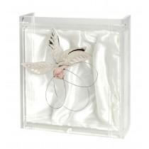 Στεφανοθήκη plexi glass με ασημένιο λουλούδι και ρόζ πέτρα.