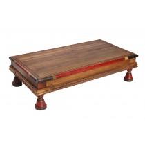 Ξύλινο σκαλιστό τραπέζι - σοφράς - ζωγραφιστό. 74x41x20cm.  oikos503