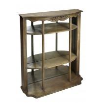Ραφιέρα βιτρίνα δαπέδου - τοίχου ξύλινη με καθρέπτη.