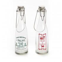 Γυάλινο μπουκάλι vintage γάλατος μεγάλο με καπάκι . 33x9x9cm. oikos259