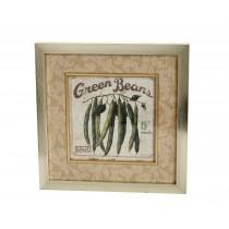 """Κάδρος """"Green Beans"""" μπέζ. 30χ29cm. oikos602"""