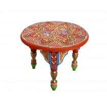 Στρογγυλό βοηθητικό τραπέζι - Ξύλινο. Ζωγραφισμένο στο χέρι. 30x30x22cm. oikos292