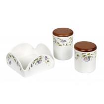Πετσετοθήκη με δύο δοχεία κουζίνας πορσελάνη- Τiffany. Σετ/3. oikos433