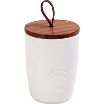 ESPIEL Δοχείο πορσελάνης λευκό με ξύλινο καπάκι. 14,8cm. FOK102K2