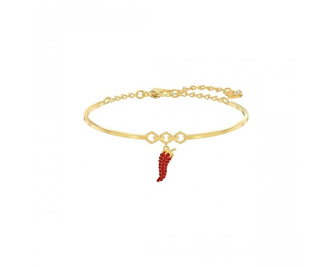 Swarovski επιχρυσωμένο βραχιολι 5498810 Lisabel Pepper Bangle, Red, Gold-tone plated