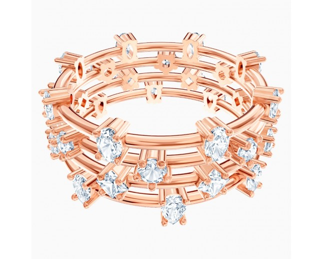 Swarovski επιχρυσωμένο δαχτυλίδι 5486602 PENÉLOPE CRUZ MOONSUN CLUSTER RING, WHITE, ROSE -GOLD Νο55